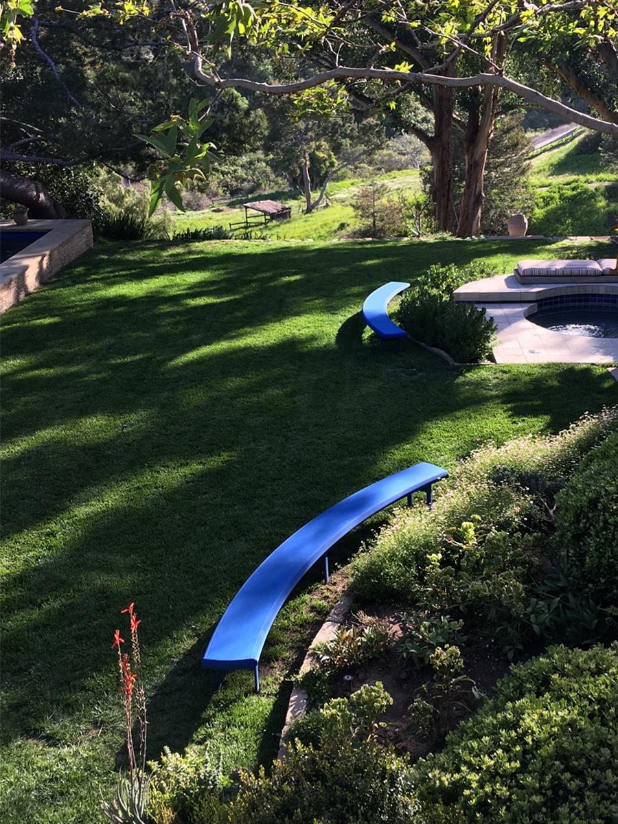 Lapis Lazuli Aluminum Benches